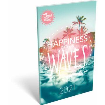 Zsebnaptár tűzött A6 2021 Good Vibes Waves