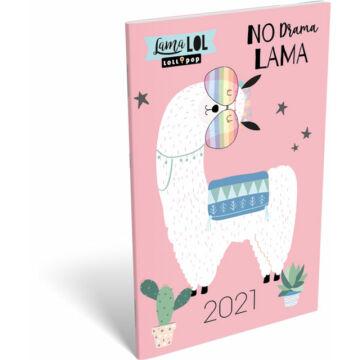 Zsebnaptár tűzött A6 2021 Lolipop Lama LOL