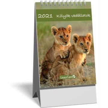 Asztali naptár spirálozott kis képes 2021, Kölyök vadállatok