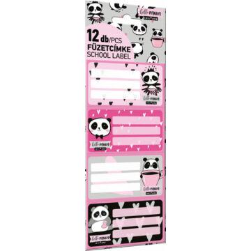Füzetcímke 12 db-os Lollipop Hello Panda