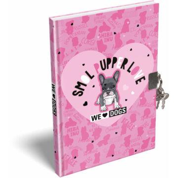 Emlékkönyv keményfedeles A/5 We Love Dogs Pink