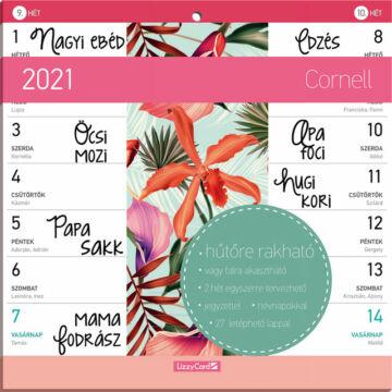 Hűtőmágneses kétheti naptár 2021 Cornell