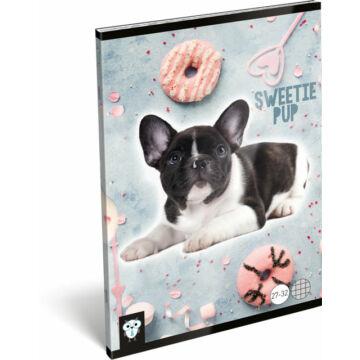 Füzet tűzött A/5 kockás 27-32 Kis Bagoly Sweetie Pup