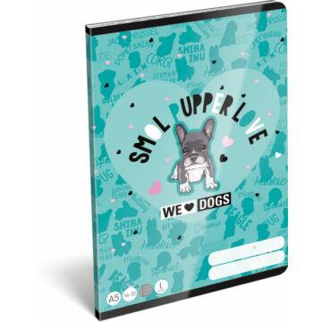 Füzet tűzött A/5 1.o. 14-32 FSC We Love Dogs Blue