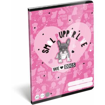 Füzet tűzött A/5 kockás 27-32 FSC We Love Dogs Pink