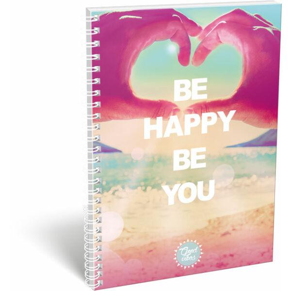 Füzet dupla spirál A/4 kockás Happy Vibes Be Happy