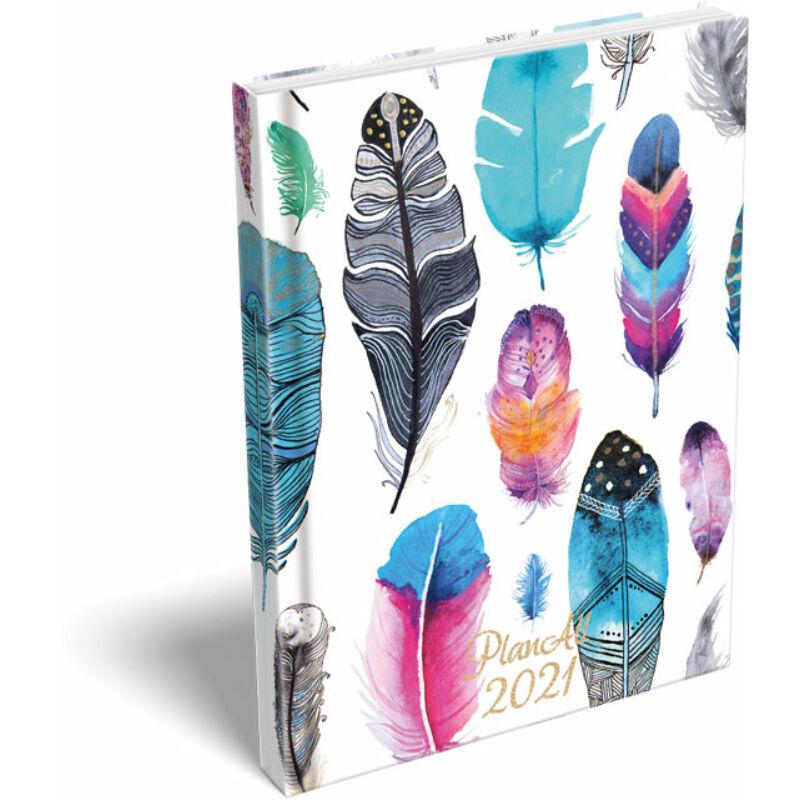 PlanAll A6 keményfedeles aranyozott 2021 Bright Feathers