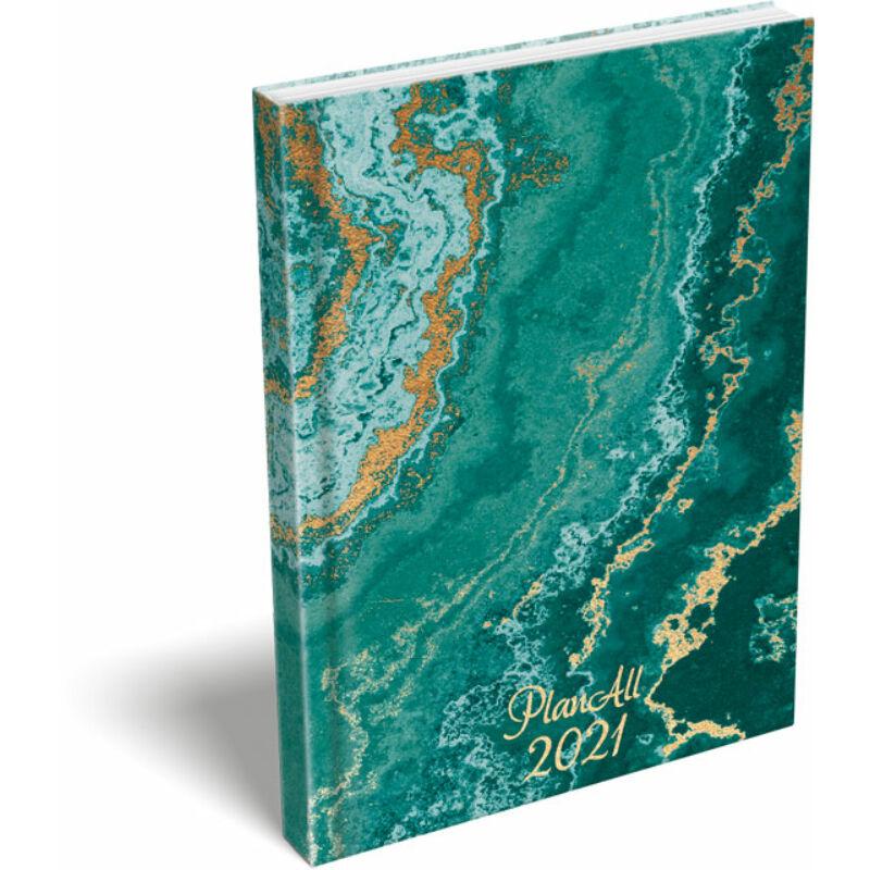 PlanAll A6 keményfedeles aranyozott 2021 Green Marble