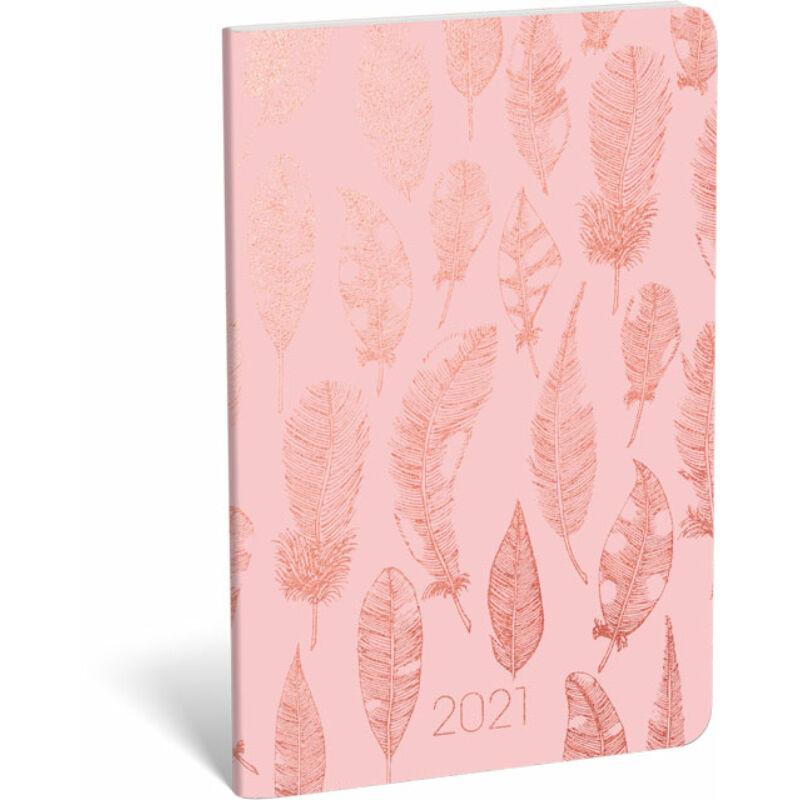 Zsebnaptár tűzött B5 aranyozott 2021 Pink Feather