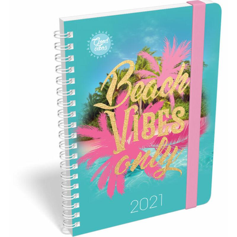 Naptár heti tervező B6 spirál 2021 Good Vibes Beach vibes only