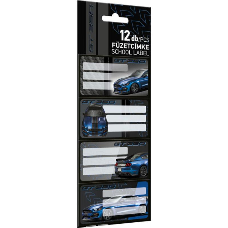 Füzetcímke 12 db-os Ford Mustang Blue