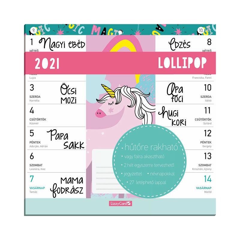 Hűtőmágneses kétheti naptár 2021 Lollipop