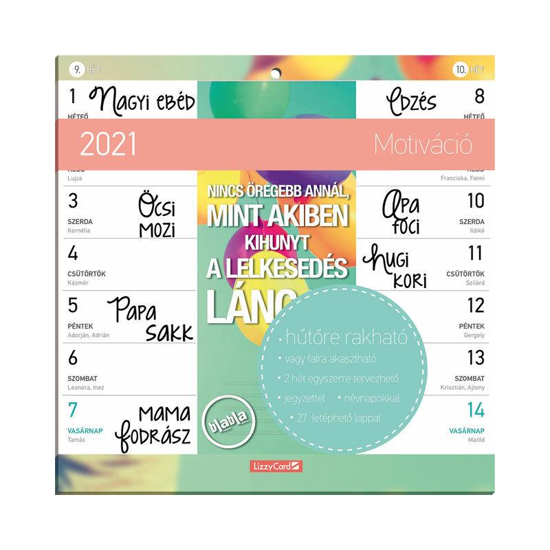 Hűtőmágneses kétheti naptár 2021 Motiváció