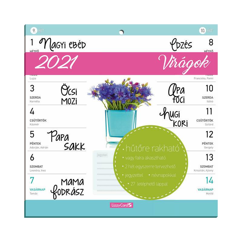 Hűtőmágneses kétheti naptár 2021 Virágok