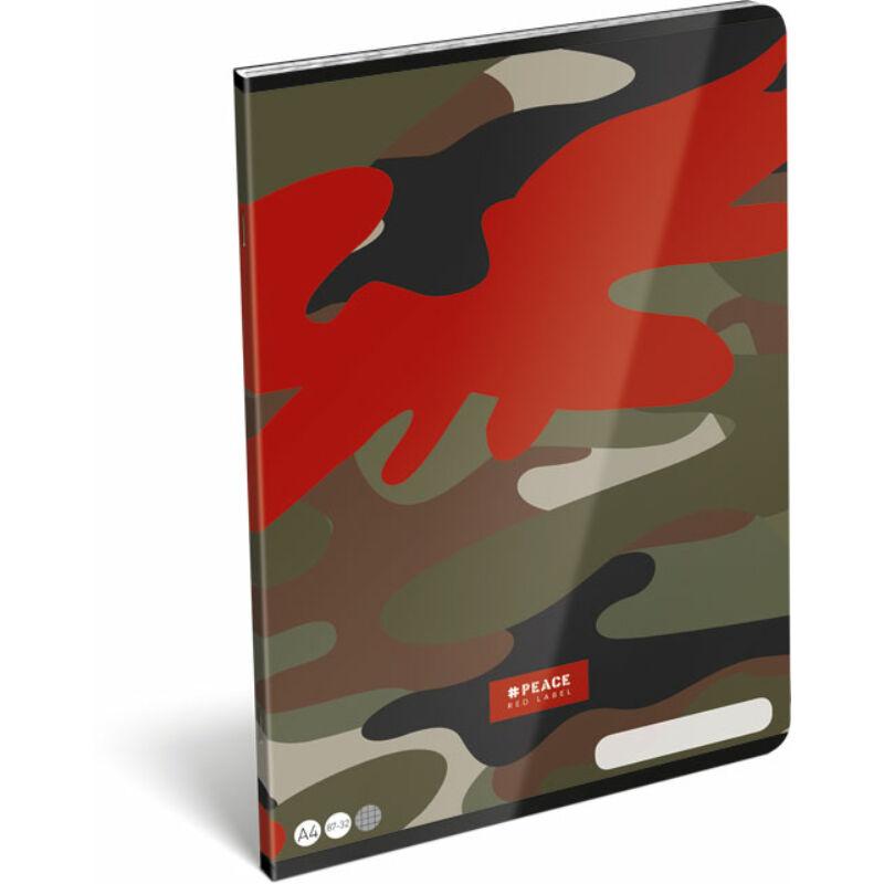 Füzet tűzött A/4 kockás 87-32 FSC #peace Red Label