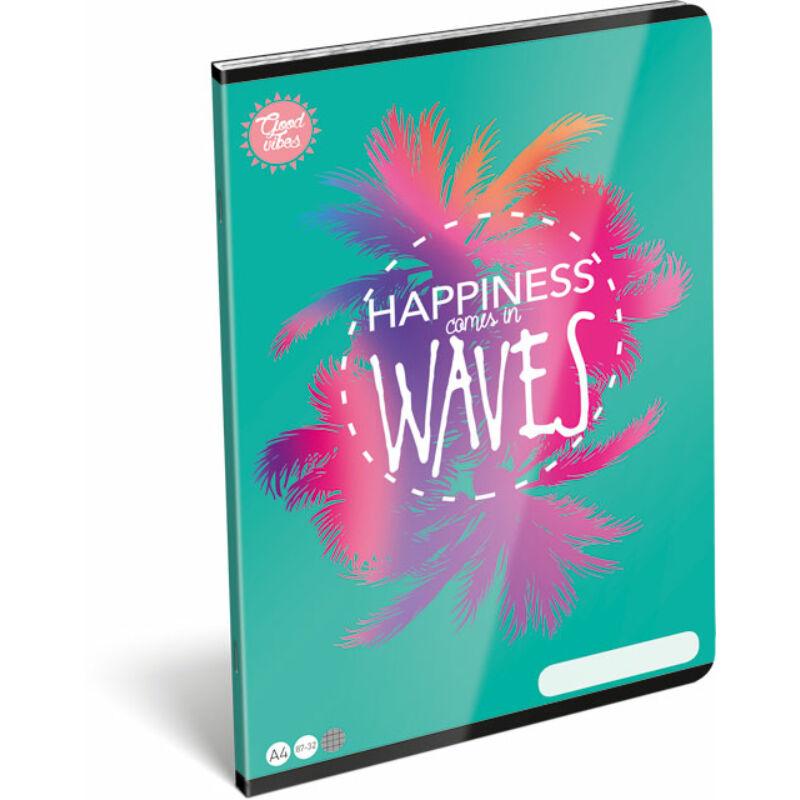 Füzet tűzött A/4 kockás 87-32 Good Vibes Wave
