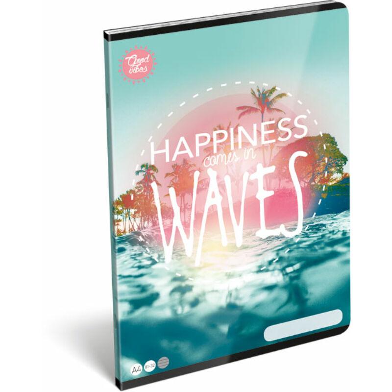 Füzet tűzött A/4 vonalas 81-32 Good Vibes Wave