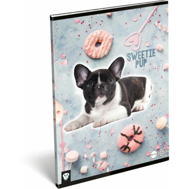 Füzet tűzött A/4 kockás 87-32 Kis Bagoly Sweetie Pup
