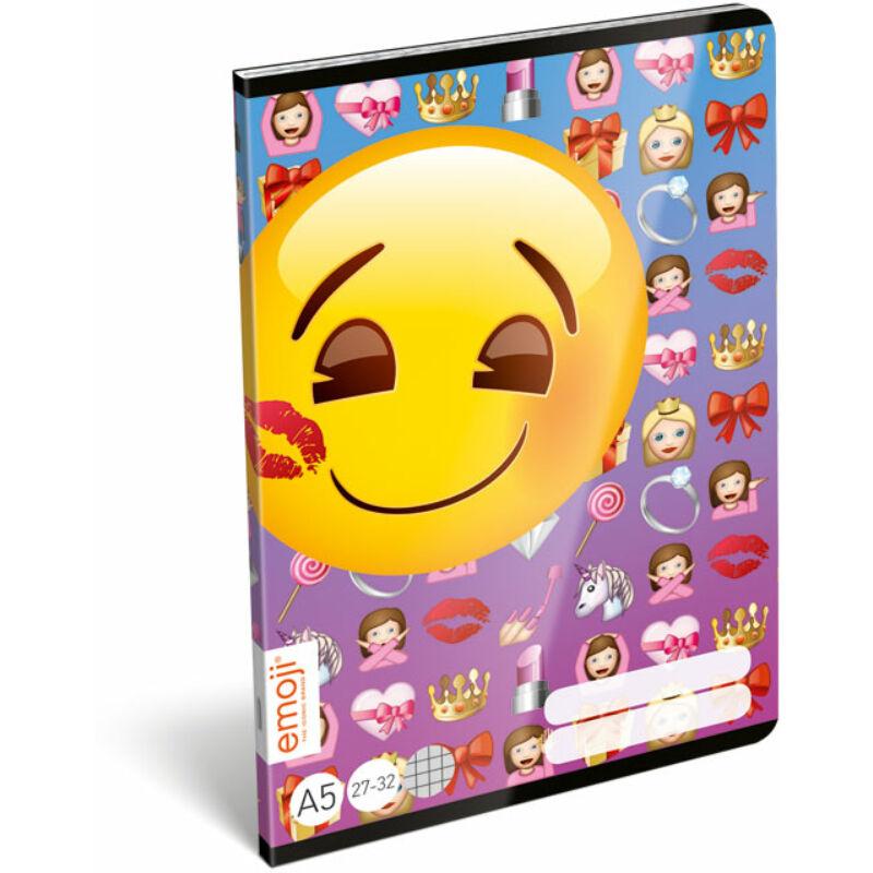 Füzet tűzött A/5 kockás 27-32 emoji Girls
