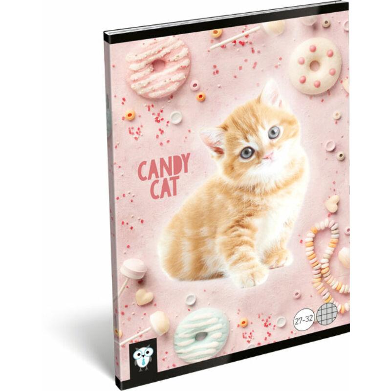 Füzet tűzött A/5 kockás 27-32 Kis Bagoly Candy Cat