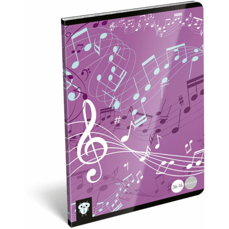 Hangjegyfüzet A5 Kis bagoly Music Purple 36-16