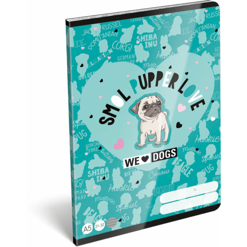 Füzet tűzött A/5 vonalas 21-32 FSC We Love Dogs Blue